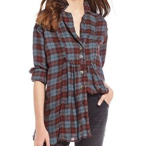Free People Tunic Top Plaid About Feels Shirt NWT